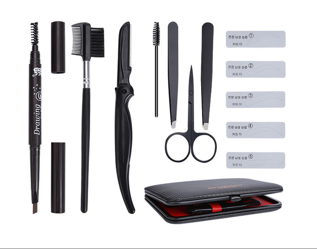 8 in 1 man Eyebrow Trimming Kit ,   Portable Tweezer and Scissor Set for Eyebrow Grooming Eyebrow Care Kit for Men Women 1