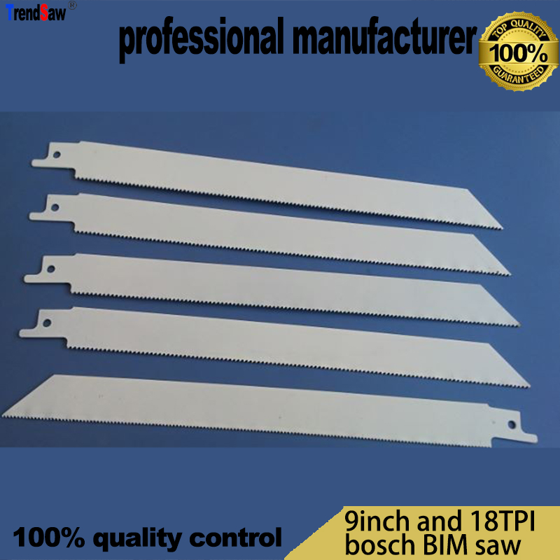 Lama per sega alternativa da 225 mm in bi-metallo per sega a sciabola standard bosch a taglio rapido da 9 pollici e 18TPI