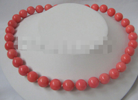 3159 natural perfect round pink coral necklace