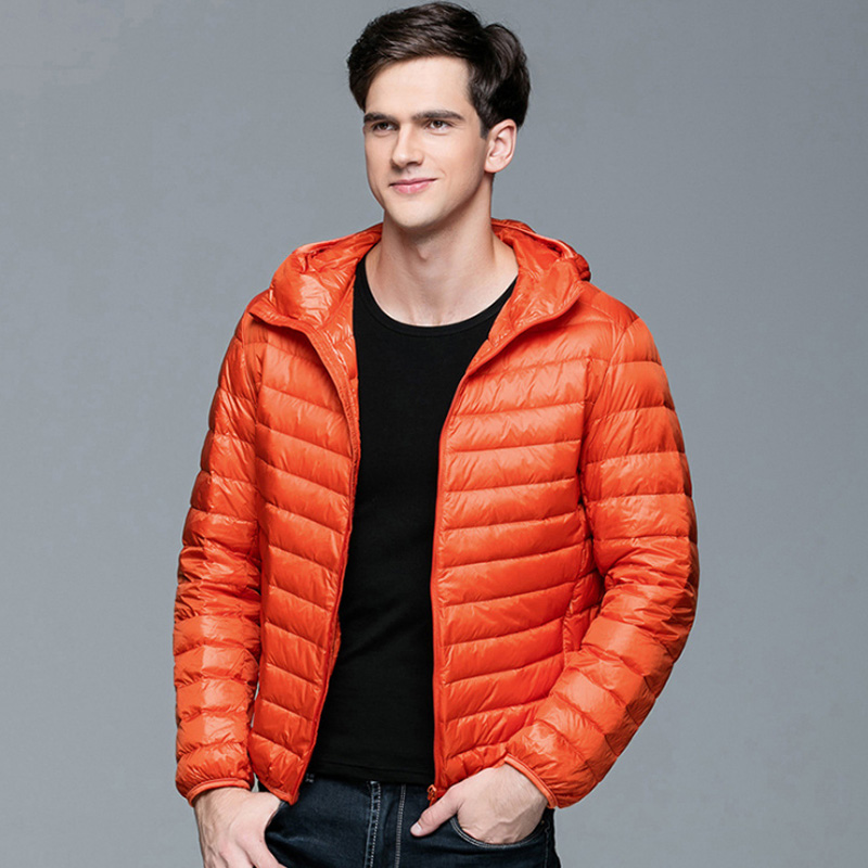 Image 5 - Men Winter Coat Fashion Hooded 90% White Duck Down Jackets Plus  Size Ultralight Down Coat Portable Slim Down Parkas 4XL 5XL 6XLjackets  for young menparka appareljacket at low price