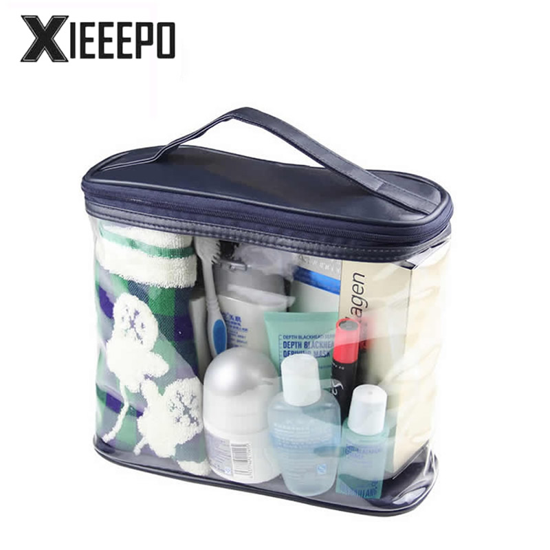 Transparent Travel Cosmetic Bag PVC Leather Zipper Make Up Bag Makeup Case Necessaries Organizer Storage Pouch Toiletry Kit Bag 3 set casual women travel cosmetic bag pvc leather zipper make up transparent makeup case organizer storage pouch toiletry bags