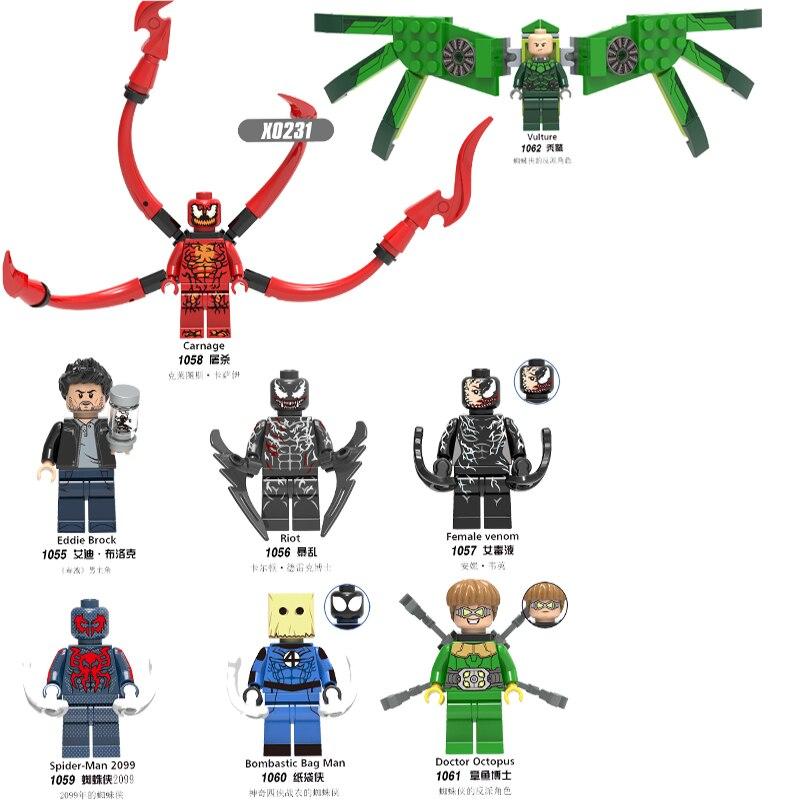 Single Sale Building Blocks Super Heroes Vulture Venom Riot Eddie Brock Carnege Doctor Octopus Figures Toys For Children X0231