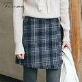 Verificado fino mini saia meninas 2017 primavera de cintura alta padrão de xadrez de lã saia de lã uma linha saia das mulheres do estilo coreano meninas