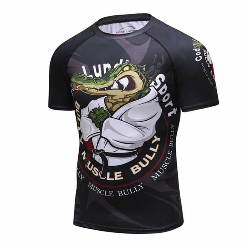 2019 Baru Kompresi Kemeja K Berlaku Lengan Pendek 3D Cetak BJJ Jiu Jitsu T-shirt Pria MMA Kebugaran Binaraga Tops