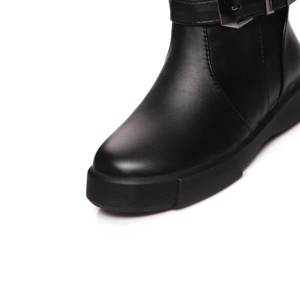 Zapatos Nieve Felpa Sb0250 2018 Mujer Media De Nuevo Invierno Mujeres Botas Romance Correa Pantorrilla blanco 34 Negro S Cálido Forro Calidad Doble Hebilla 43 xnIY1