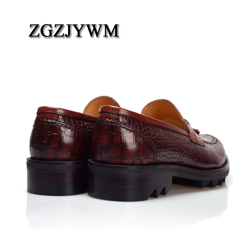 ZGZJYWM Men's British Style Genuine Crocodile Pattern Leather Pointed Toe Lace-Up Cowhide Dress Wedding Flat Oxford Men Shoes