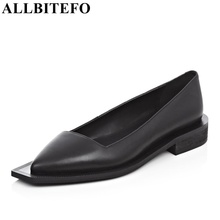 ALLBITEFO pointed toe genuine leather brand casual women pumps high heel fashion High quality platform ladies shoes