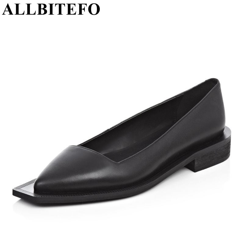 ALLBITEFO pointed toe genuine leather brand casual women pumps high heel fashion white black High quality platform girls shoes plus size 33 42 pointed toe genuine leather buckle mixed colors fashion casual high heel shoes platform high quality women pumps