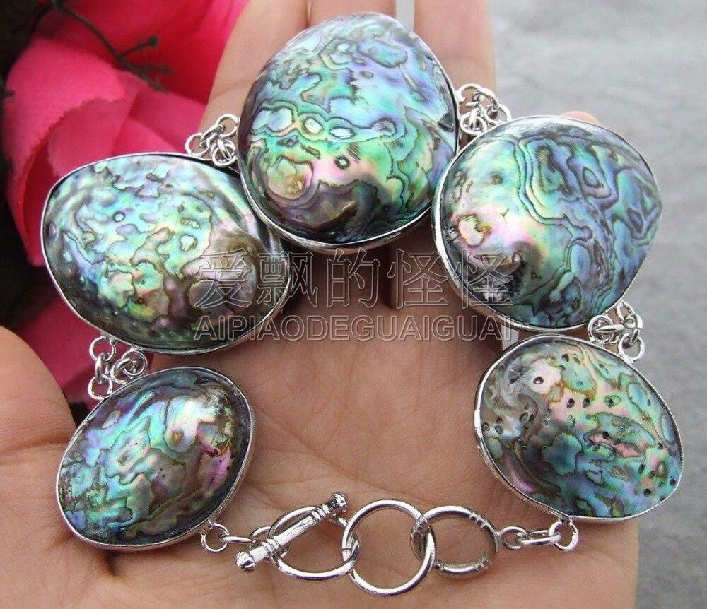 Deep Purple Stretch Ladies Bracelet Shinny Abalone Shell Discs