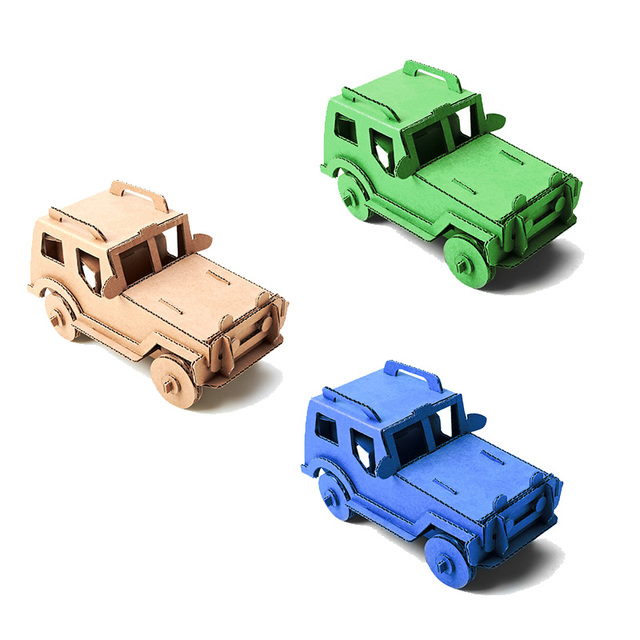 3d Puzzle Car Toys Jeep Army Military Style Model Cardboard Craft DIY Cool  Adults Kids Boys