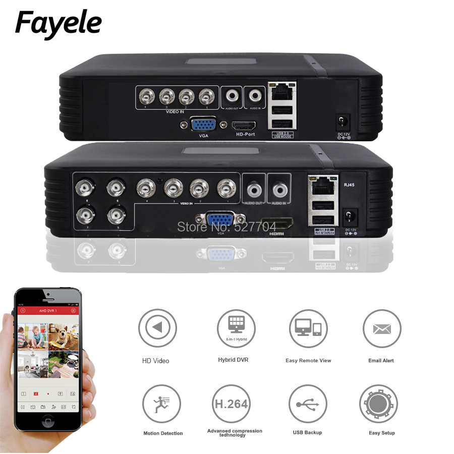 Sicherheit MINI <font><b>4CH</b></font> <font><b>8CH</b></font> hybrid <font><b>DVR</b></font> <font><b>AHD</b></font> CVI TVI IP CVBS 5IN1 H.264 Digital Video Recorder P2P E-mail Alarm Bewegungserkennung image