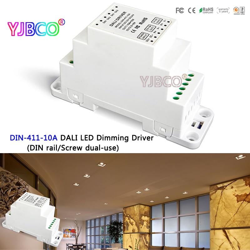 led controller DIN-411-10A DALI LED Dimming Driver(DIN rail/Screw dual-use);DALI Dimming Signal DC12-24V 10A*1CH output din 411 12a dali to pwm cv dimming driver din rail screw dual use dc12 24v input 12a 1ch 0 10v 1ch output