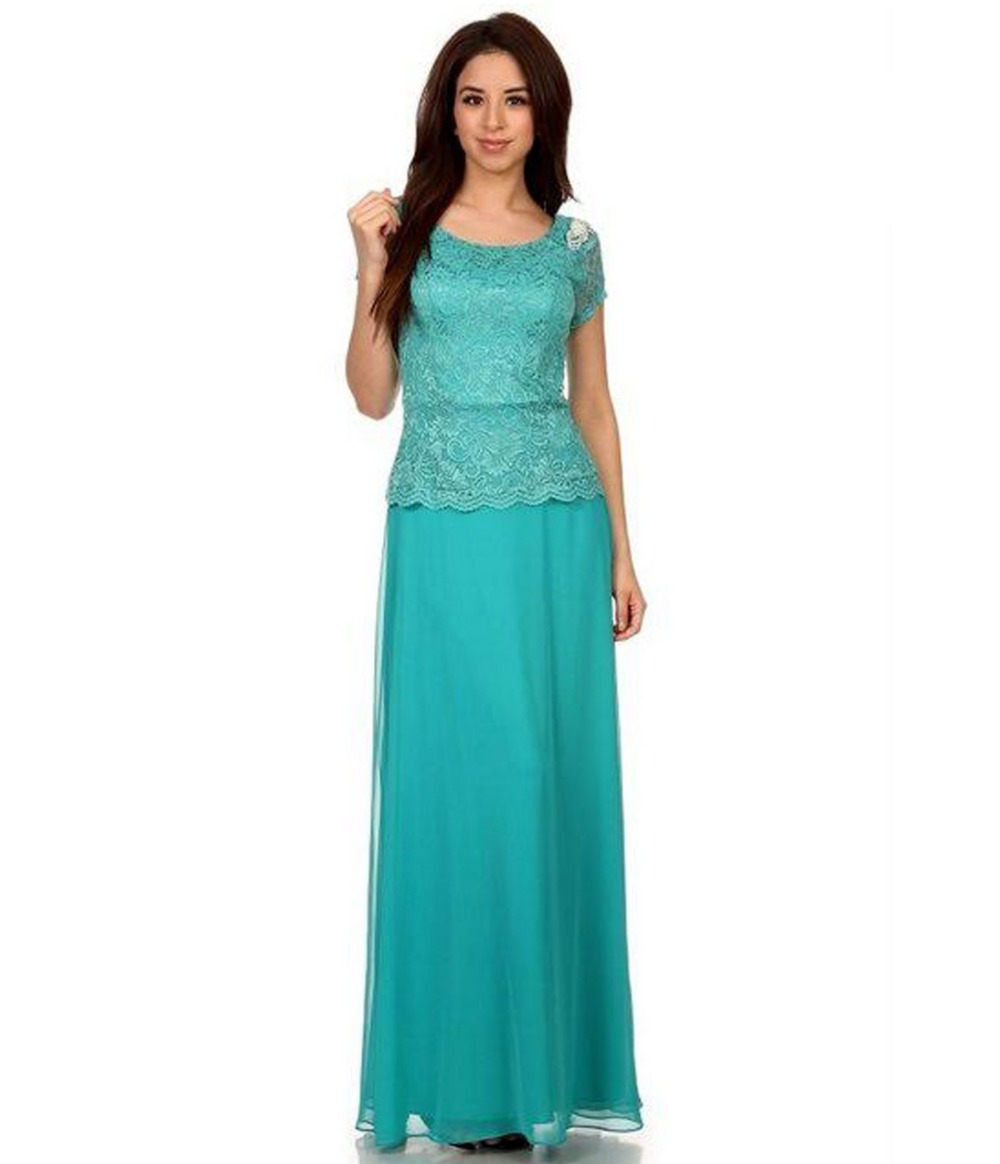 2016 Simple Jade A line Lace Chiffon Modest Bridesmaid Dresses with ...