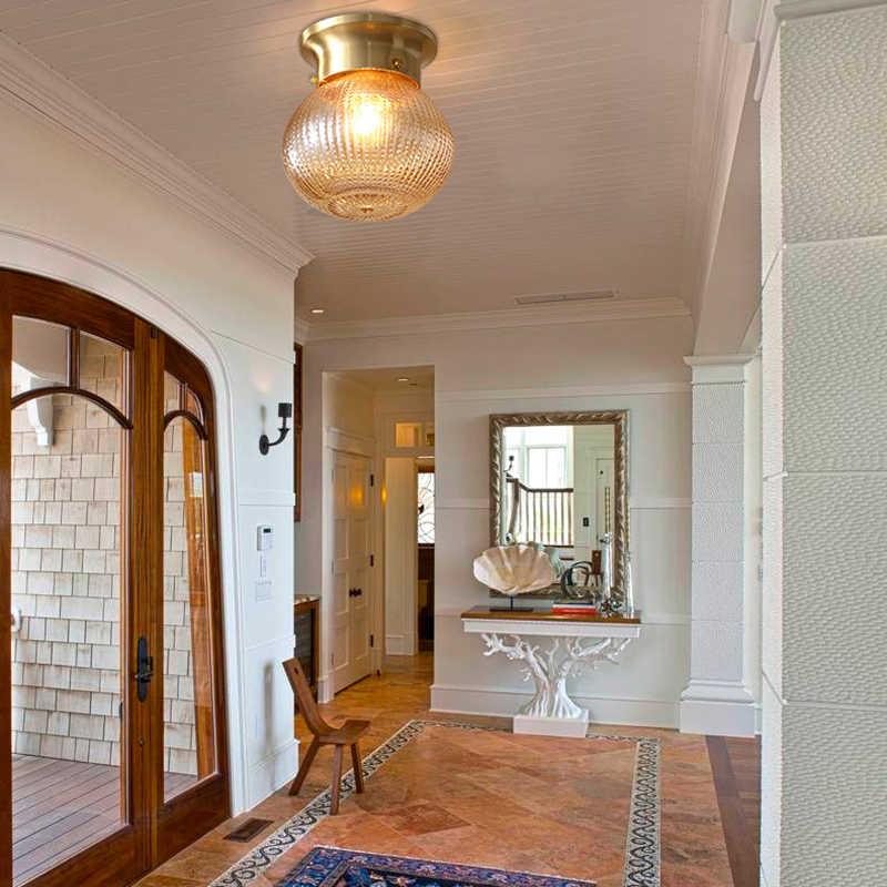 Домашний деко E27 подвесной светильник круглый спальня ресторан Кабинет Коридор медный стеклянный шар небольшой светодиодный подвесной светильник