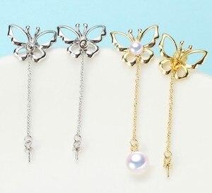 Image 1 - 2 color Pearl Earrings Mountings Beautiful Earrings Findings, Earrings Settings Jewelry Parts Fittings Drop Earrings Accessories