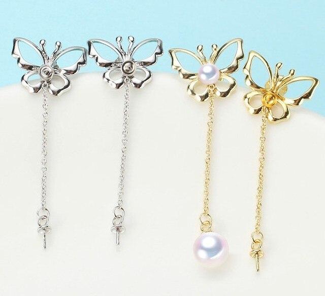 2 color Pearl Earrings Mountings Beautiful Earrings Findings, Earrings Settings Jewelry Parts Fittings Drop Earrings Accessories