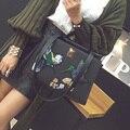 Designer de bolsas femininas de Couro Da Marca senhoras Design de estilo Chinês bordado Bolsa do saco Das Mulheres Bolsa de Ombro Fêmea Sacola