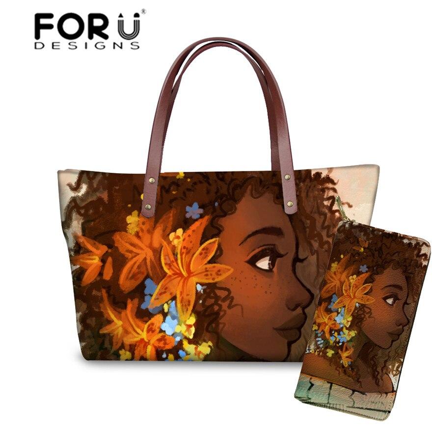 FORUDESIGNS Sac A Main Black Art African Girl Printing 2pcs/set Handbags&Wallets Ladies Fashion Hand Bag For Girls Book Bags
