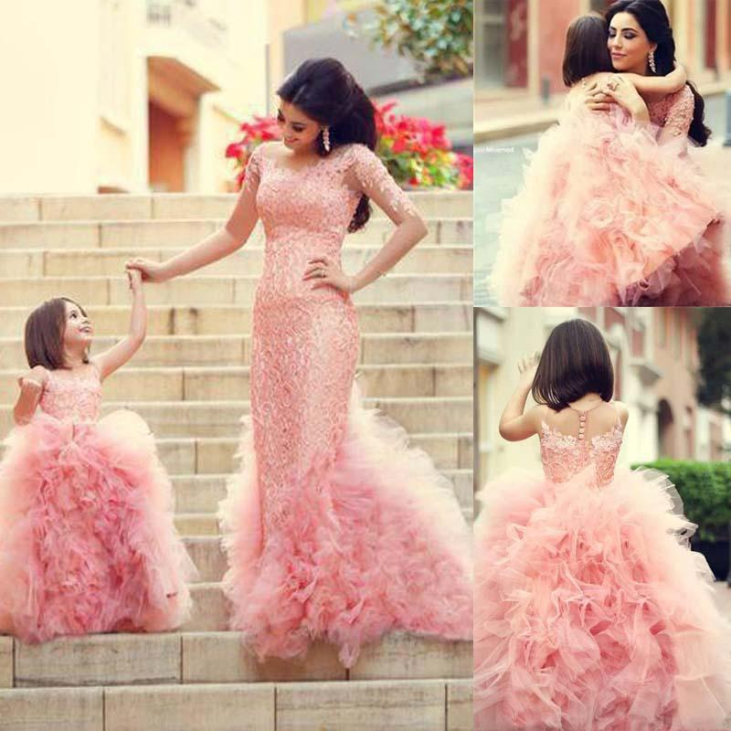 2015 Mother And Daughter Chic Girls Party Dress Pink Ruffles Ball Gown Flower Girl Dresses for Weddings Pageant Dresses