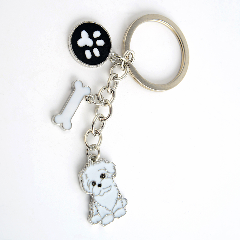 Shih Tzu pendant key chains for women girls men silver color metal alloy pet dog bag cha ...