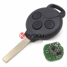 3PCS  New Smart Keyless Remote Key Fob 3 Button 433/434MHz for 2007-2013 Smart Fortwo 451 With Uncut Blade