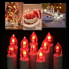 10pcs 7 colors changing remote led candles christmas tree cordless candle lights with clips remote control for wedding party - Candle Christmas Lights