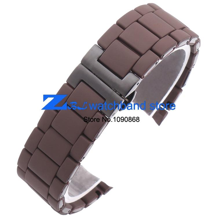 Kauçuk kordonlu Saat Çelik kahverengi silika jel adam 23mm kadın - Saat Aksesuarları - Fotoğraf 3