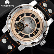 FORSINING Men Sports Automatic Watches Men's Skeleton Mechanical Leather Band watch Rose Gold Creative Clock Relogio Masculino