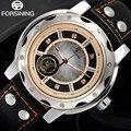 FORSINING marca Esqueleto Mecânico automático dos homens do esporte Relógios masculino relógio de Pulso de Couro rosa de ouro à prova d' água relogio masculino
