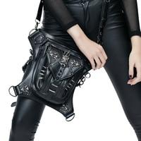 Fashion Gothic Steam Punk Skull Rivet Crossbody Bag Phone Pockets Personality Moto Biker Bags Vintage Waist