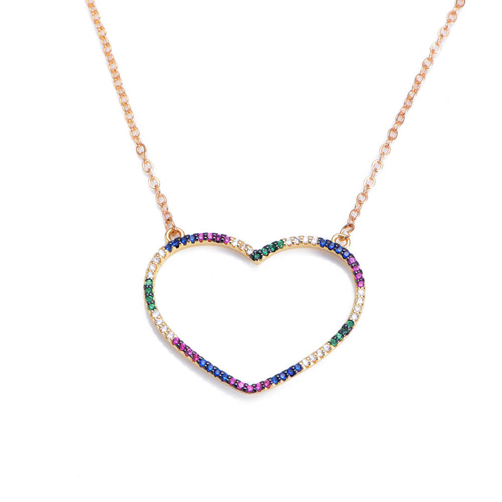 fashion colorful hollow heart  women's necklace pendant decoration jewelry for women long snake chain initial necklace zirconia