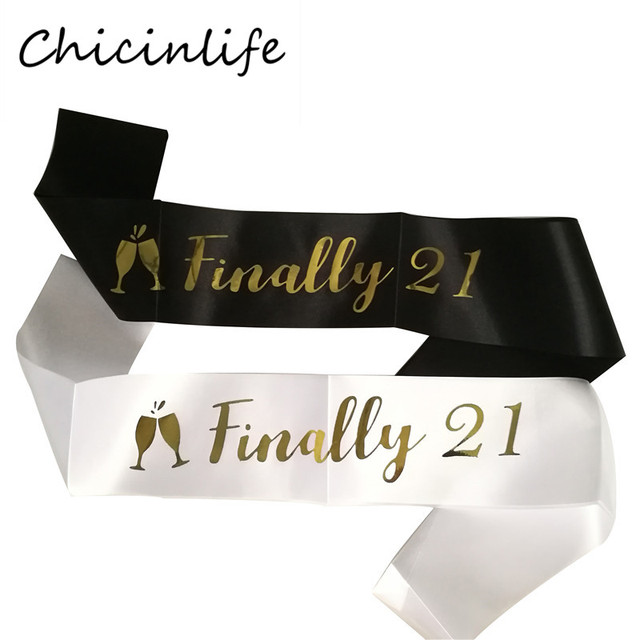 Chicinlife 1Pcs Black White Finally 21 Birthday Sash 21st Party Gift Decoration Supplies