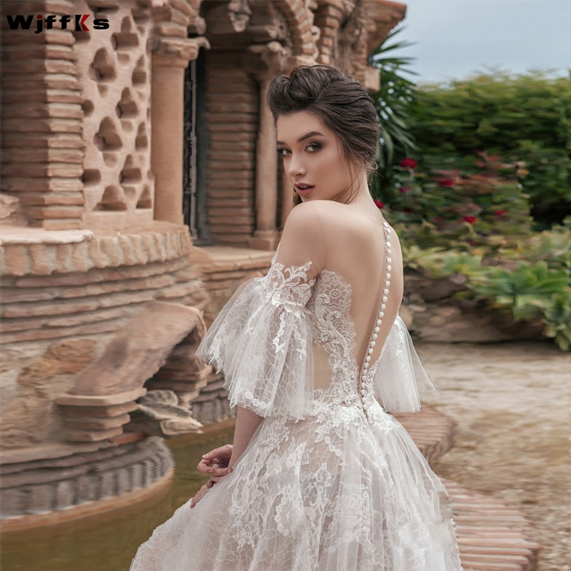 WJFFKS 2019 New Jewel Neck Sheer Half Long Sleeves A Line  Wedding Dresses Illusion Back with Buttons Long Bridal Gowns-in Wedding Dresses from Weddings & Events