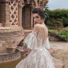 Wjffks 2019 nova jewel neck sheer metade mangas compridas vestidos de noiva linha a ilusão voltar com botões longos vestidos de noiva