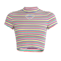 Rainbow Short Sleeve Fitness T shirt hollowe Women's Rainbow stripes Tee Elastic Tops Tees 2019 Sexy Tshirt Female Cropped Tide
