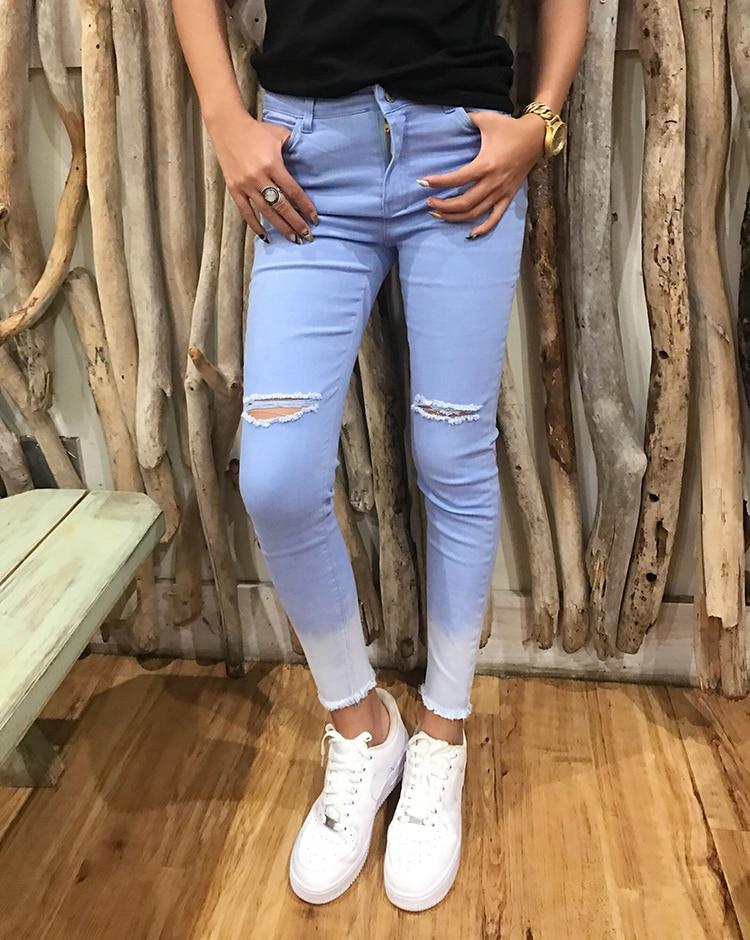 Primavera Pantalones 2018 Mujeres Fondo Rodilla Mujer Azul 2019 Gradualmente Cintura Agujero Las Alta Personalidad La Formación Cielo Vaqueros Nuevas De SpWxrnqIwW