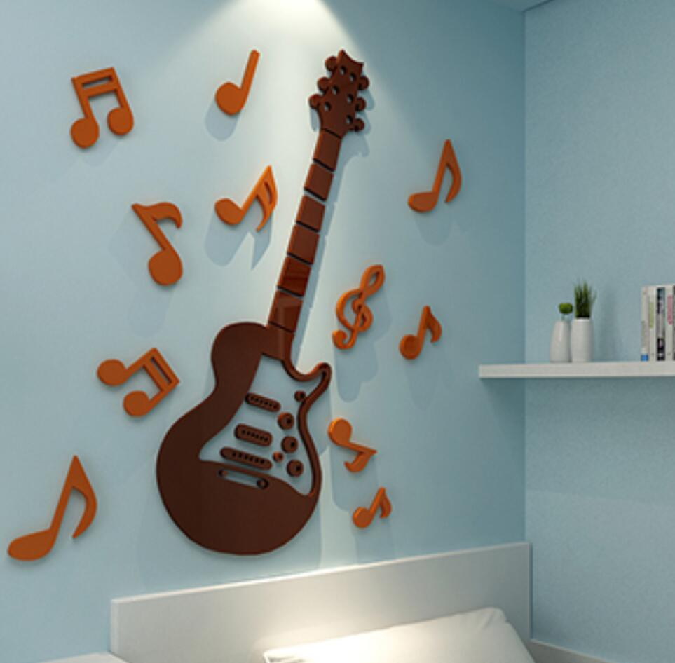 Kids bedroom wall stickers - 2017 New Arrival 3d Crystal Acrylic Mirror Wall Stickers Music Guitar Modern Home Decor Kids Bedroom Decorative Decals Diy Gifts