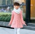 4-8Y girls woolen coat 2017 winter children coats outerwear Baby girl's overcoat kids thick woolen coat jacket