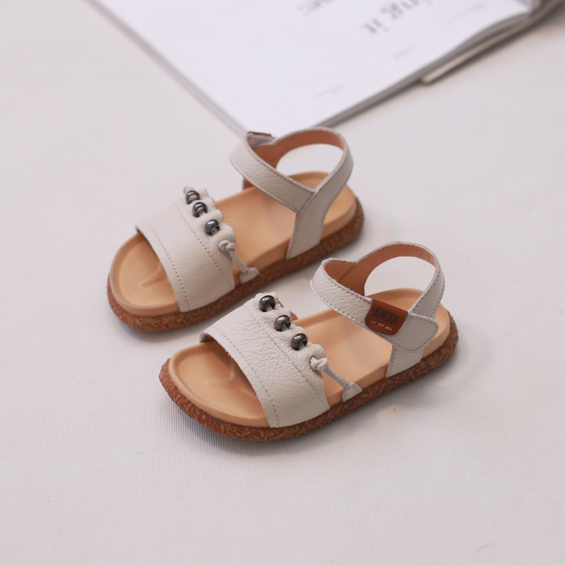 Toddler Kids Genuine Leather Sandals 2018 New Baby Girls Sandals Princess Pink Shoes for Summer Hook Loop Soft Sole Size 21 30