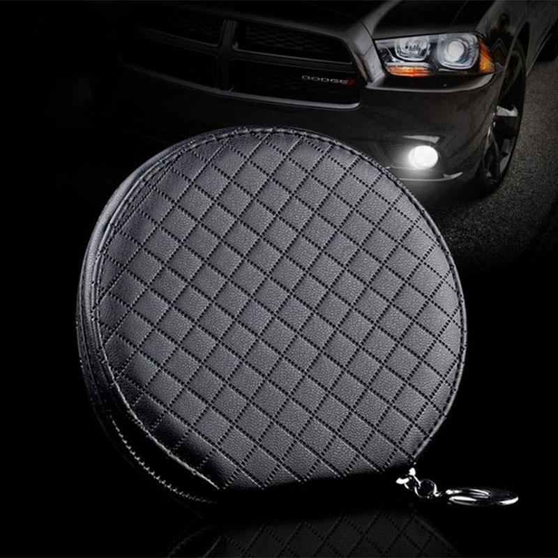 prativerdi New Fashion Car Lattice CD Box For DVD Case Automotive Supplies Storage Bag Car Holder Leather CD Travel Organizer