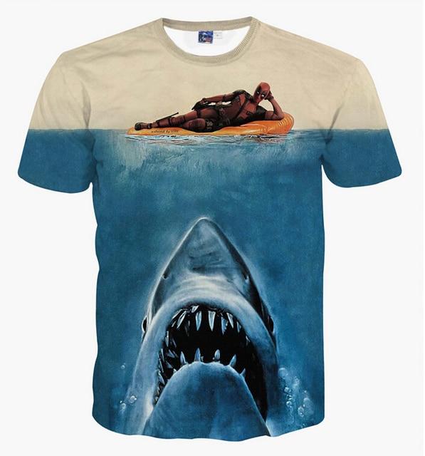 0bd1a0cf153c 3d Deadpool a pelo e lo squalo in mare T shirt uomo donna casual soprt t