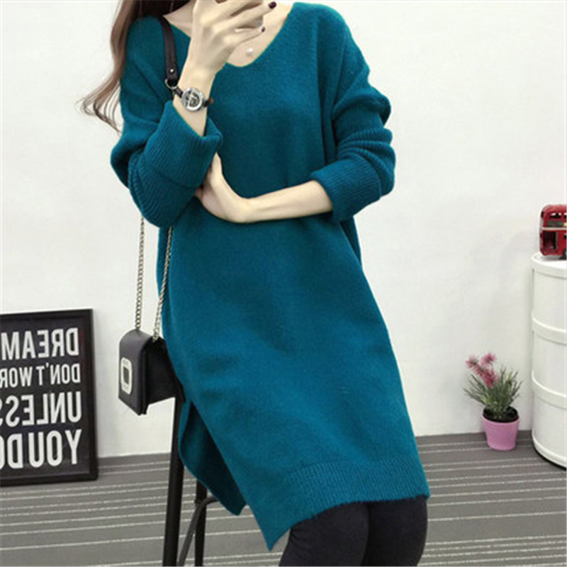 2018 New Spring Autumn Women's V Neck Pullover Sweater Female Large Size Casual Long Sleeve Knitted Dress Women Z543