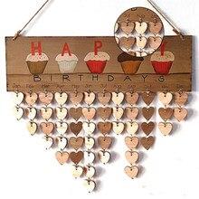 Diy calendário de parede bolo feliz aniversário impresso calendário de madeira sinal datas especiais lembrete placa casa pendurado decoração presentes