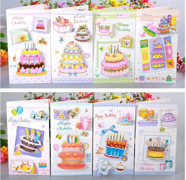 Stereo Cake Handmade Birthday Greeting Card With Envelope Happy Gift To Friend Set Free