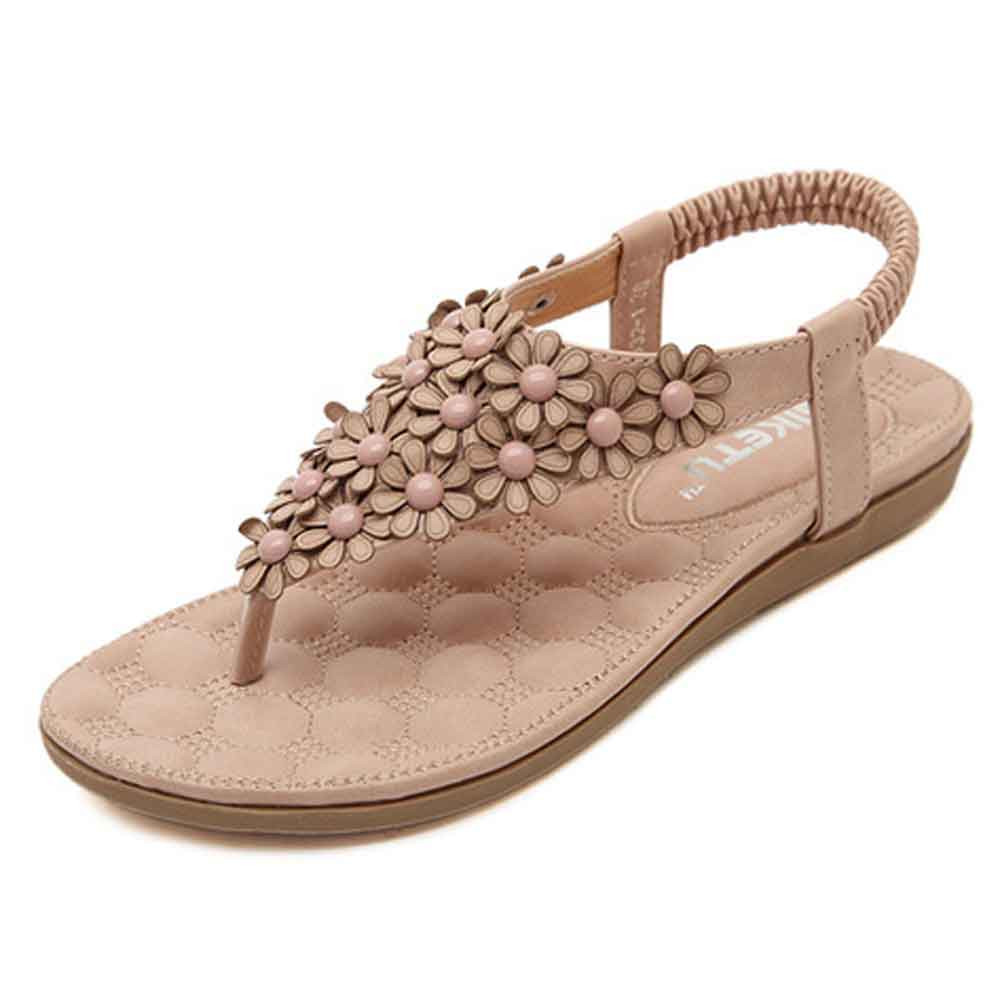 509f02cfe701 Sandles Women s Fashion Sweet Beaded Casual New Flats Clip Toe Flats  Bohemian Herringbone Sandals Zapatos Mujer Beach Shoes-in Low Heels from  Shoes on ...