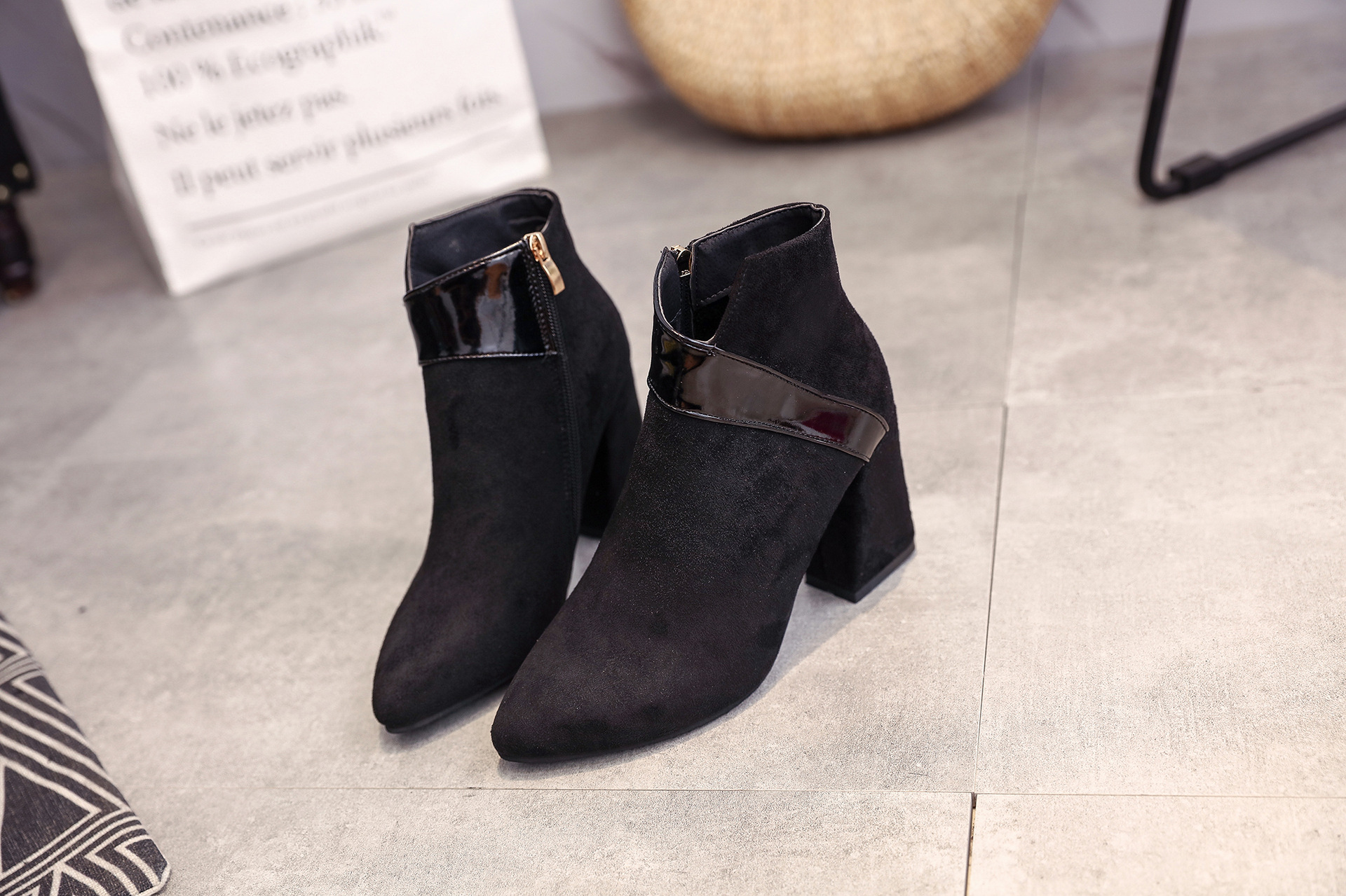 High heels shoes women autumn winter sexy pointed toe ankle boots ladies retro chunky heels short boots botas mujer beige black 57