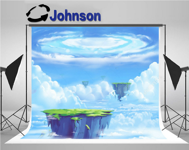 paradise Allen Planets Floating Tropical Island Blue Clouds Sea background Vinyl cloth Computer print wall photo backdrop