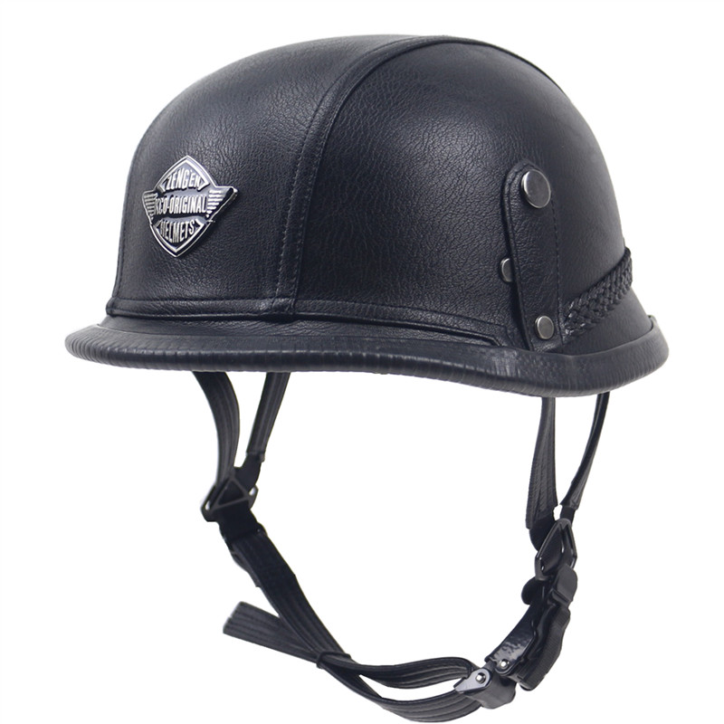 Professional Harley Moto Style leather helmet Quick Release buckle Adult helmet size for 55-61cm DOT approved bike helmet