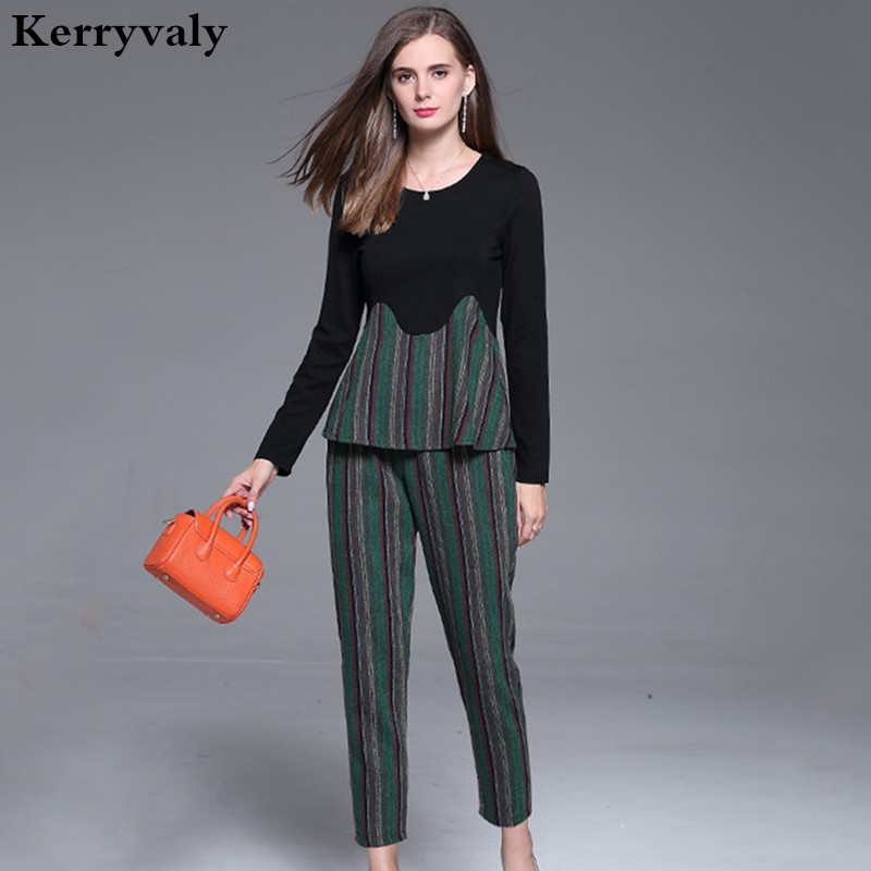 Winter 2 Piece Set Women 5XL Large Size Long Sleeved Tops Pant Suit Soonyour 2018 Two