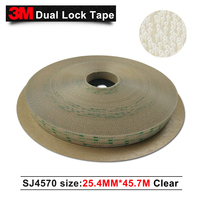 3M dual lock SJ4570 indoor self adhesive tape clear transparent fastener hook 1in * 50yards two sided tape 2 rolls a lot